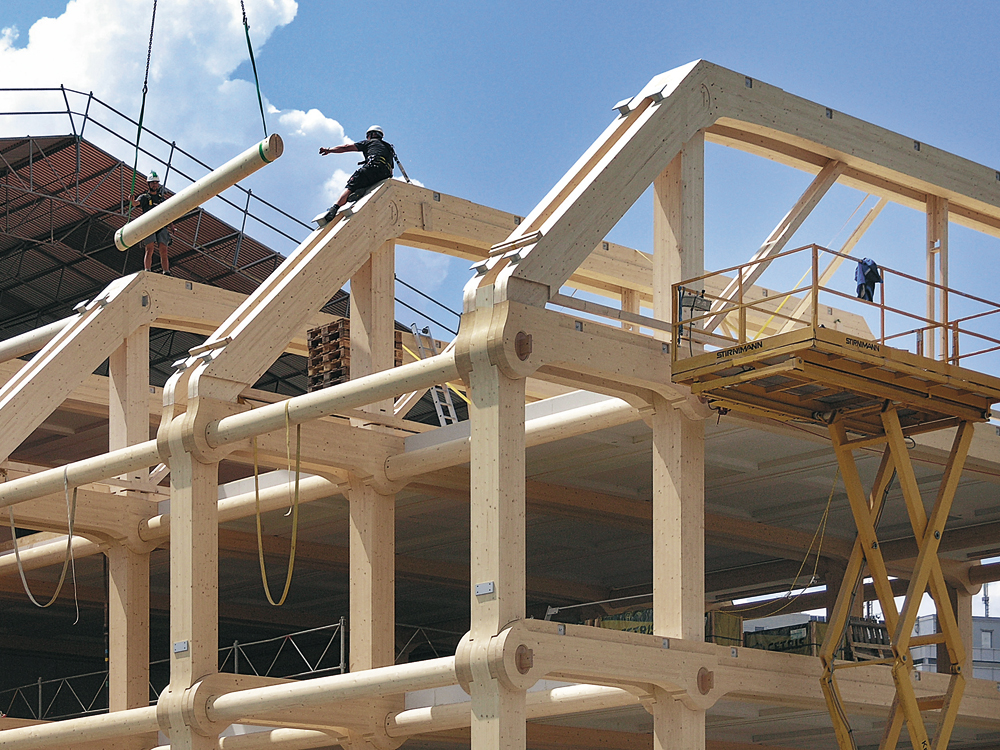 Wood Beam Construction ~ Technology seven storey wood office building in zurich
